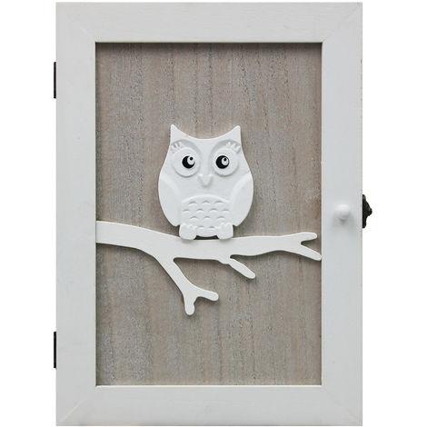 Schlüsselschrank Schlüsselkasten Eule Wandschrank 21x28x7cm mit 6 Schlüsselhaken Schlüsselbox Schlüsselbrett Schlüsselboard - Natur/Weiß