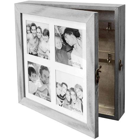 Schlüsselschrank / Schmuckschrank mit Fotogalerie für 4 Fotos 10x10cm Schmuckkästchen Schmuckkommode Schlüsselkasten