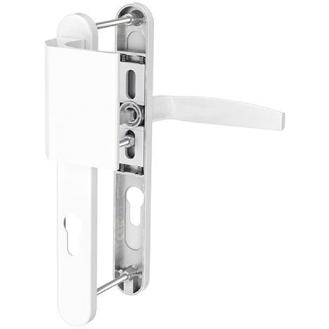 Schmalrahmengarnitur Schutzbeschlag Wechselgarnitur 8/92mm Weiß Drücker/Stossgriff