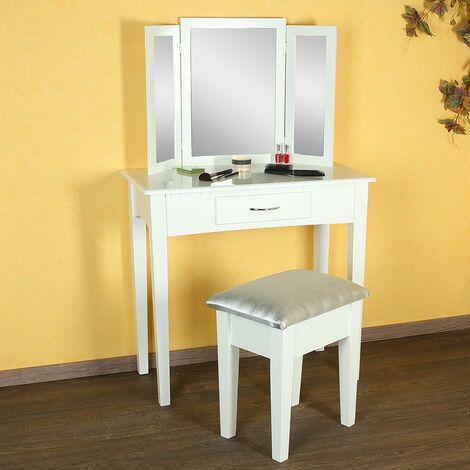 Schminktisch Frisiertisch Kosmetiktisch mit Hocker Frisierkommode Spiegel Weiß