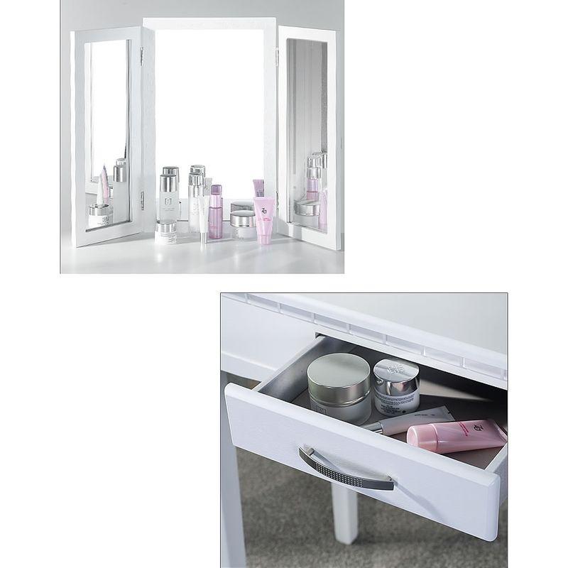 Set Kommode Schminktisch Kosmetiktisch Frisiertisch Hocker Spiegel Weiß 3tlg