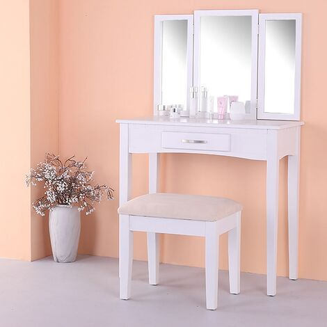 Schminktisch Kosmetiktisch Frisiertisch Hocker Spiegel Weiß 3tlg. Set  Kommode