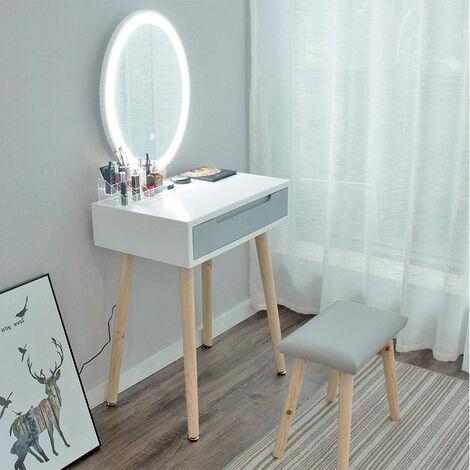Schminktisch mit 2 geräumigen Schiebeschubladen Schminktisch LED-Licht Dimmbarer Schminktisch mit Spiegel und Hocker