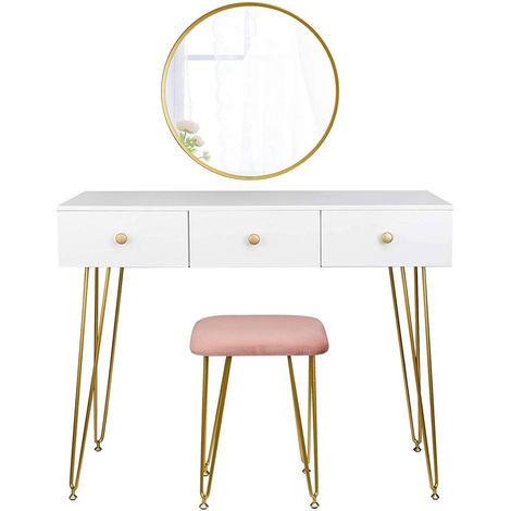Schminktisch mit Hocker & Spiegel modernes Design gold Modell Luxe