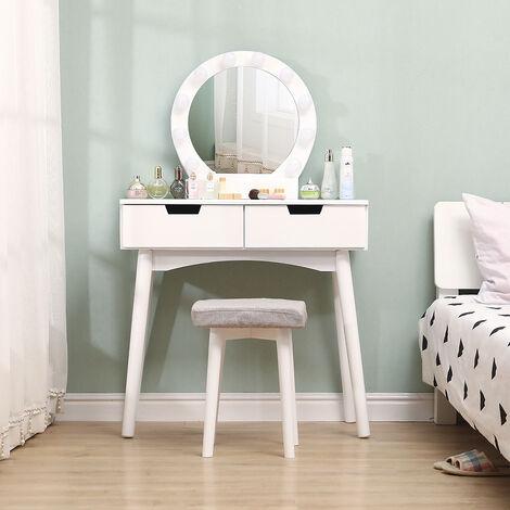 Schminktisch mit LED-Beleuchtung, Runder Spiegel, 2 Schublade und Fächern   weiß   modern   MDF Holz   Frisiertisch Kosmetiktisch Kommode 131x80x40cm