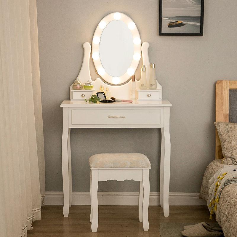 Wyctin - Schminktisch mit LED-Beleuchtung, Spiegel, 1 Schublade und Fächern | weiß | modern | MDF Holz | Frisiertisch Kosmetiktisch Kommode