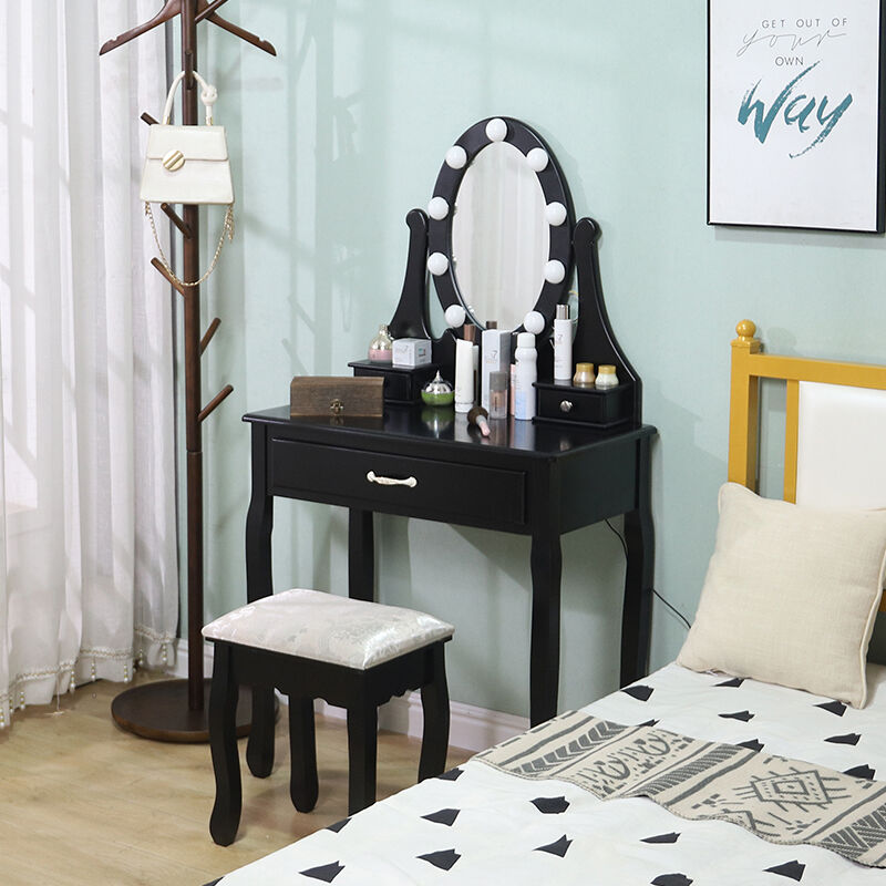 Schminktisch mit LED-Beleuchtung,Spiegel,Schublade Frisiertisch Kosmetiktisch Kommode 75x40x139cm Schwarz - WYCTIN