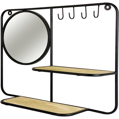 Schmuckhalter mit Spiegel und Schlüsselhaken Metall/holz-D777733