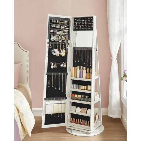 Schmuckschrank Spiegelschrank abschließbar um 360° drehbar mit Leiterregal JBC62W - White