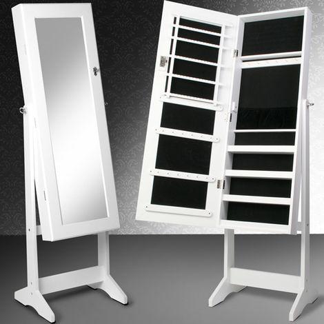 Schmuckschrank Standspiegel Spiegelschrank Schmuckregal mit Spiegel und Schlüssel in Weiß