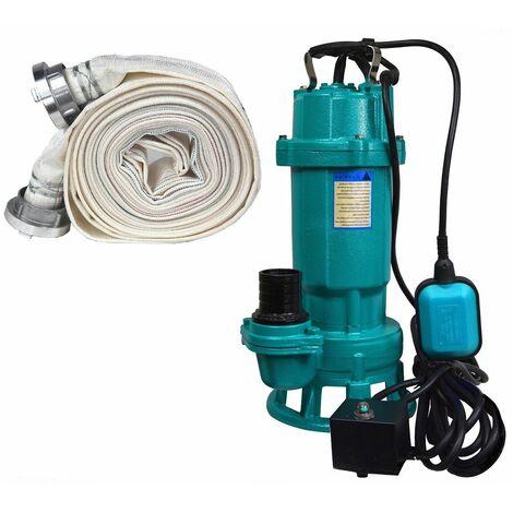 Schmutzwasserpumpe Fäkalienpumpe 370 W 12000 L/Std Schlauch 20 30 M Tauchpumpe Abwasserpumpe