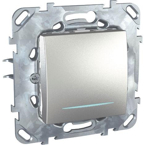 SCHNEIDER ELECTRIC Interrupteur va-et-vient Unicatop a voyant aluminium
