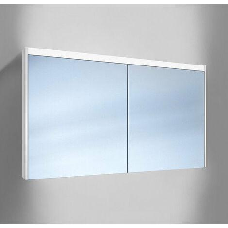 Schneider O- Line Armoire de toilette LED 015 130/2/LED, 2 portes, éclairage en haut, Exécution: Norme UE sans poignées - 165.130.02.02