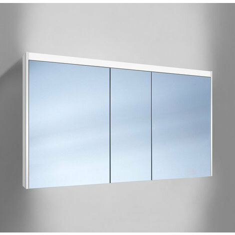 Schneider O-Line Armoire de toilette LED 015 130/3/LED, 3 portes, éclairage haut et bas, Exécution: CH standard sans poignées - 165.331.01.02