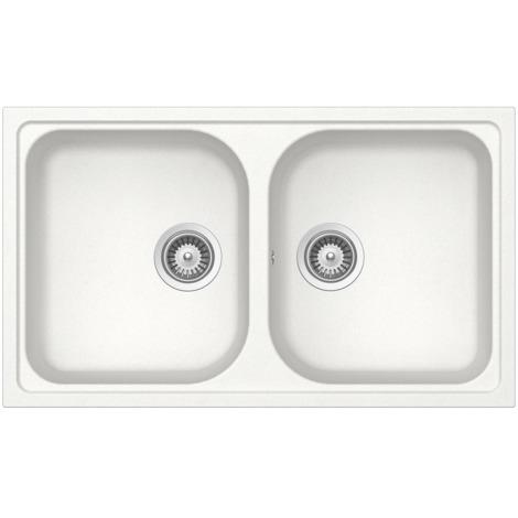 Lavello Cucina 2 Vasche Senza Gocciolatoio.Schock Lavello Cucina Bianco 2 Vasche Senza Gocciolatoio Formhaus N200a07