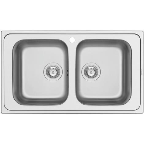 Schock Lavello cucina in acciaio inox 2 vasche senza gocciolatoio Master  N200