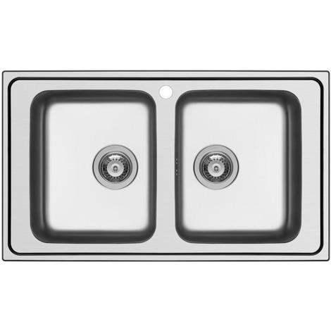 Schock Lavello cucina incasso 2 vasche senza gocciolatoio acciaio inox Wave  N200