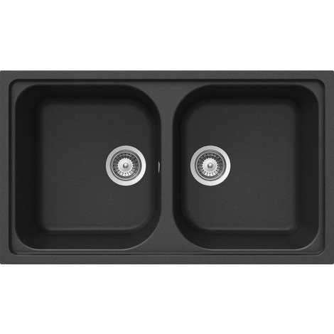 Lavello Cucina 2 Vasche Senza Gocciolatoio.Schock Lavello Cucina Incasso 2 Vasche Senza Gocciolatoio Lithos N200a51n