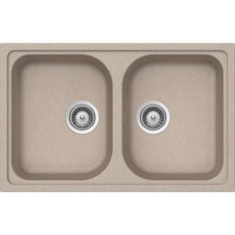Lavello Cucina 2 Vasche Senza Gocciolatoio.Schock Lavello Cucina Incasso 2 Vasche Senza Gocciolatoio Lithos N200sa58n