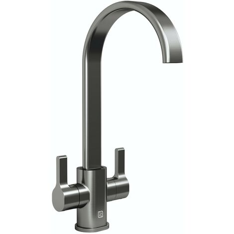 Schon Canna brushed nickel U spout kitchen mixer tap