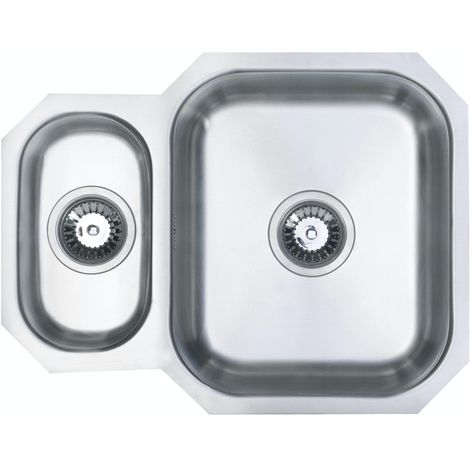Schon Rydal universal classic undermount 1.5 bowl stainless steel kitchen sink with waste 595 x 460