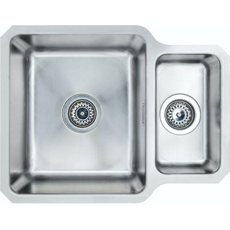 Schon Rydal universal undermount 1.5 bowl stainless steel kitchen sink with waste 580 x 450