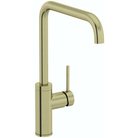 Schon Skye L spout brushed brass kitchen mixer tap