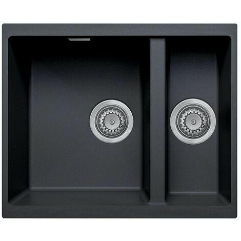 Schon Windermere left handed undermount 1.5 deep bowl black granite kitchen sink with waste 555 x 460