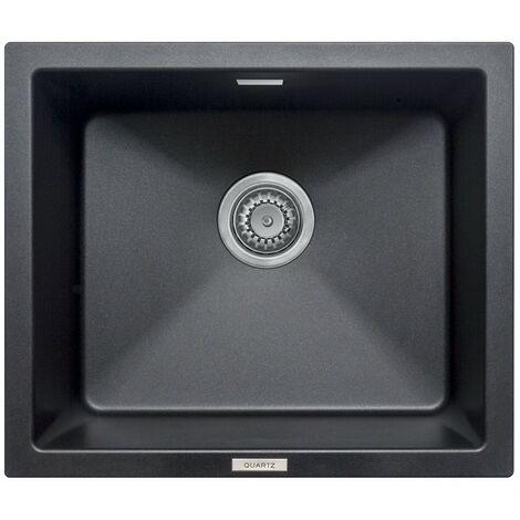 Schon Windermere undermount 1.0 deep bowl black granite kitchen sink with waste 533 x 457