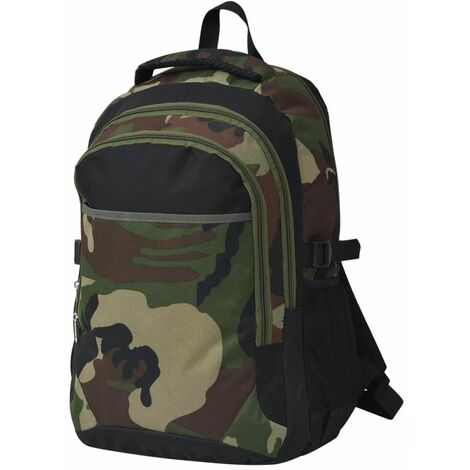School Backpack 40 L Black and Camouflage