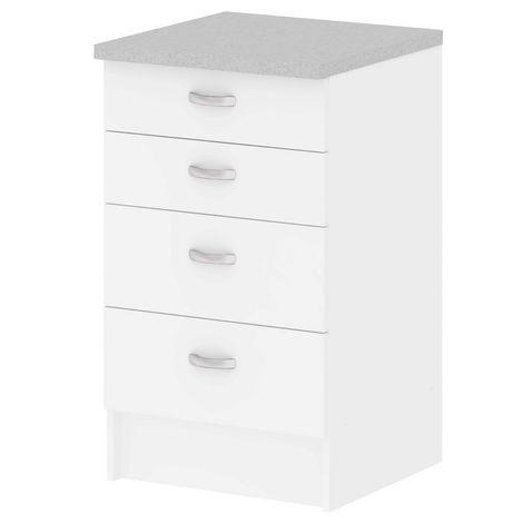Schrank-Set 4 Schubladen Küchenmöbel weiße Farbe 45521 49