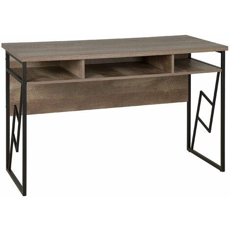 Schreibtisch Braun 120 x 60 cm Drei praktische Fächer Industrieller Stil