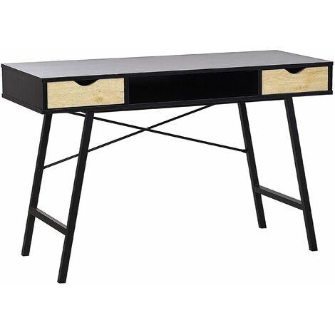 Schreibtisch Braun mit Schwarz 120 x 48 cm mit zwei Schubladen modernes Design