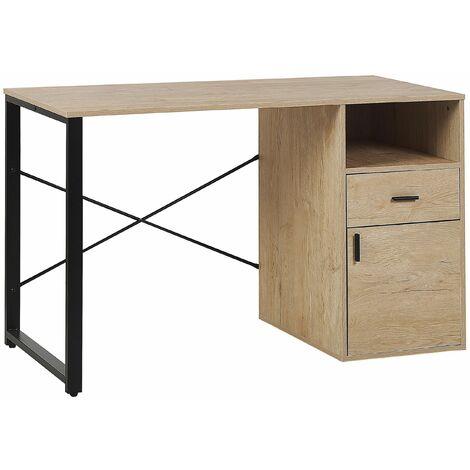 Schreibtisch Braun mit Schwarz 120 x 60 cm mit Schrank, Schublade, Ablagefläche Industrieller Stil