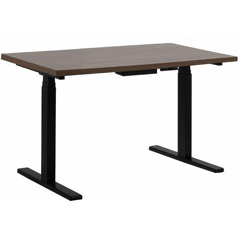 Schreibtisch Braun mit Schwarz 130 x 72 cm aus Spanplatte und Stahl in 2 verschiedenen Höhen-verstellbar Modernes Design