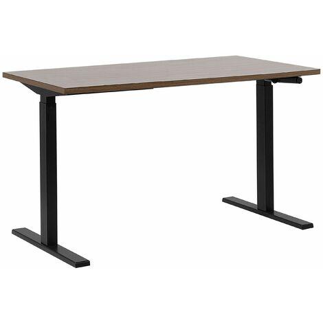 Schreibtisch Braun mit Schwarz 130 x 72 cm aus Spanplatte und Stahl Manuell höhenverstellbar Modernes Design