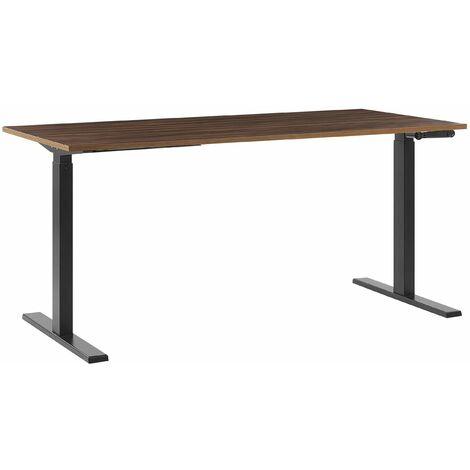 Schreibtisch Braun mit Schwarz 160 x 72 cm manuell höhenverstellbar Modernes Design