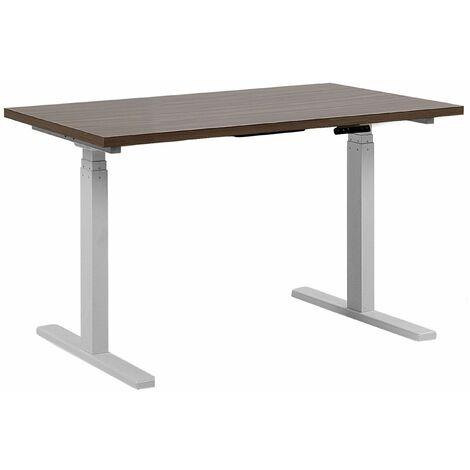 Schreibtisch Braun mit Weiß 130 x 72 cm aus Spanplatte und Stahl Elektrisch höhenverstellbar Modernes Design