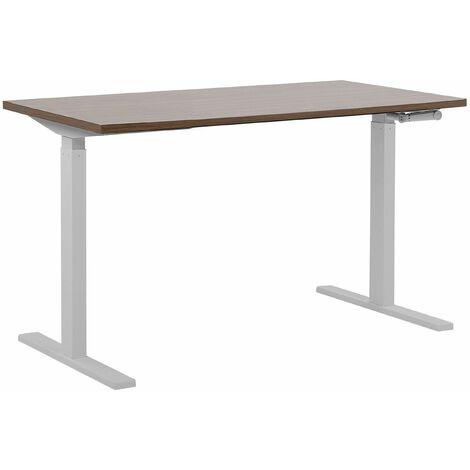 Schreibtisch Braun mit Weiß 130 x 72 cm aus Spanplatte und Stahl Manuell höhenverstellbar Modernes Design