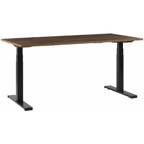 Schreibtisch Braun Spanplatte 160x72 cm mit Metallgestell Schwarz elektrisch höhenverstellbar rechteckig Büro Arbeitszimmer Möbel