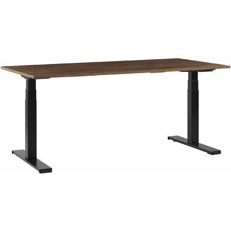 Schreibtisch Braun Spanplatte 180x80 cm mit Metallgestell Schwarz elektrisch höhenverstellbar rechteckig Büro Arbeitszimmer Möbel