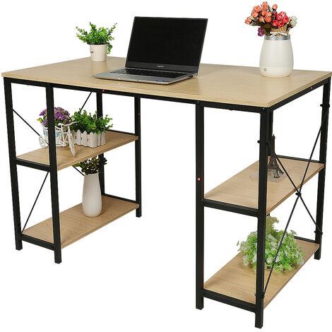 Schreibtisch Computertisch, Bürotisch mit 4 Ablagen Arbeitstisch PC-Tisch Homeoffice Büromöbel 110x60x75 Eichefarbe