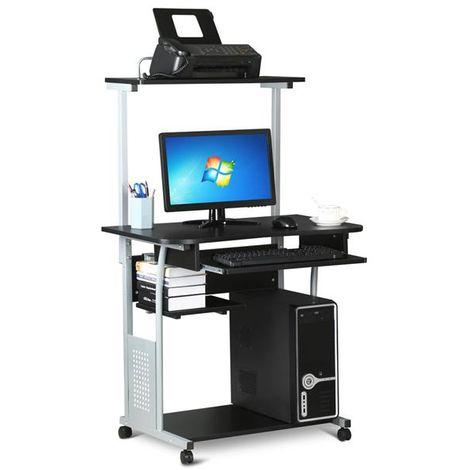 Schreibtisch Computertisch Bürotisch mit Druckerregal und Tastaturablage PC-Laptop-Tisch für kleine Räume Schwarz