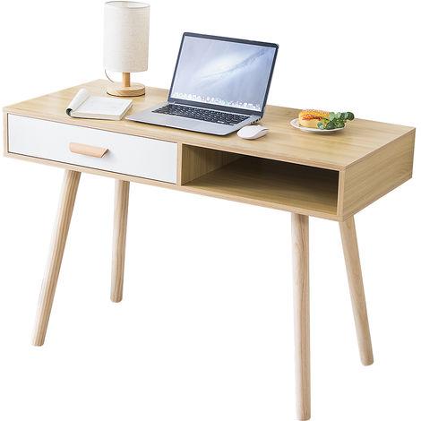 Schreibtisch Computertisch Bürotisch Schminktische mit Schubladen MDF-Holzbeinen | 110x75x50cm