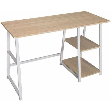 Schreibtisch Computertisch mit 2 Ablage Holz Stahl