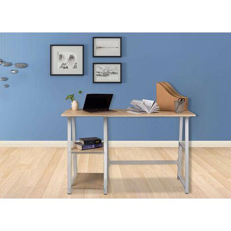 Schreibtisch Computertisch mit 2 Ablage Holz Stahl Hell Eiche