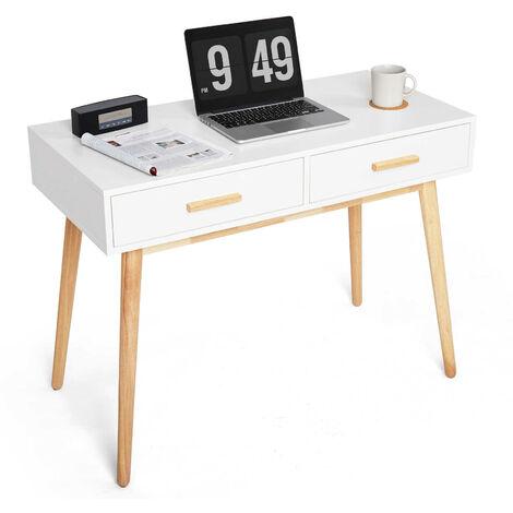 Schreibtisch, Computertisch mit 2 Schubladen, Holz, moderner einfacher Stil, für Arbeitszimmer, Schlafzimmer und Büro, 100 x 48 x75cm,Weiß-Meerveil