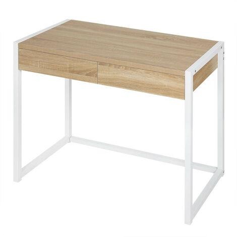 Schreibtisch Computertisch mit 2 Schubladen Holz Stahl