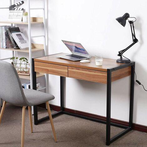 Schreibtisch Computertisch mit 2 Schubladen Holz Stahl dunkelbuche