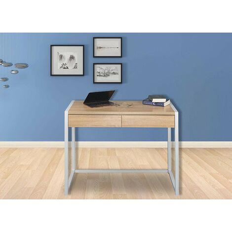 Schreibtisch Computertisch mit 2 Schubladen Holz Stahl Hell Eiche